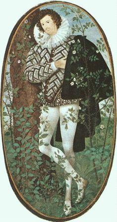 "renaissance-art: ""Nicholas Hilliard Youth Leaning Against a Tree "" John Smith, Tudor History, Art History, Renaissance Portraits, Miniature Portraits, Miniature Paintings, High Renaissance, England, Victoria"