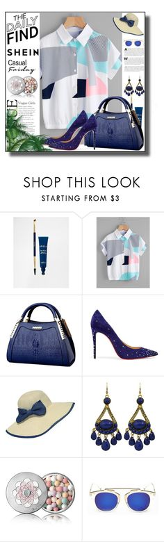 """shein blouse"" by midifashion-1 ❤ liked on Polyvore featuring Stila, Christian Louboutin, WithChic and Guerlain"
