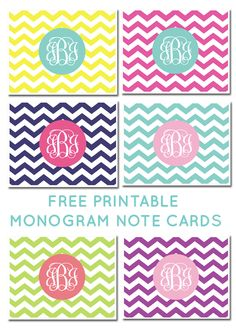 Free Printable Monogram Chevron Note Cards - click to download and make your own! #printablemongoram #freeprintable