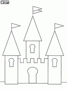 Small castle with three towers coloring page - bjl