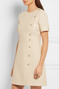 Cream wool and silk-blend Concealed hook and zip fastening at back  51% wool, 49% silk; lining: 71% acetate, 29% silk Dry clean Designer color: Gardinia  Made in Italy