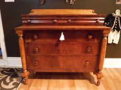 ANTIQUE-CHEST-OF-DRAWERS-BIRDS-EYE-MAPLE-1810 Chest Of Drawers, Storage Chest, Dresser Vanity, Antique Chest, Empire Style, Hope Chest, Antique Furniture, Birds, Eye