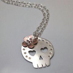 Sterling Silver Dia de los Muertos Skull with Copper Flower Necklace. $70.00, via Etsy.