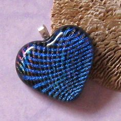 Blue Dichroic Heart Pendant Fused Glass Heart by GlassMystique, $25.00