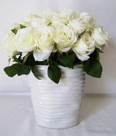 Silk Flower Arrangement - White Roses Hotel Series by MelroseFields on Etsy