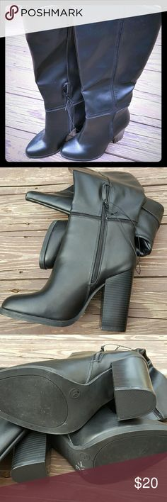 NWOT black heeled boots Zipper half way up boots. NWOT. Size 9.5. Man made materials. From Target. Shoes Heeled Boots