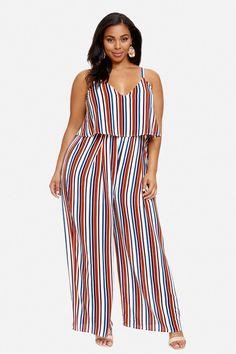 Plus Size Janis Striped Wide Leg Jumpsuit Plus Size Jumpsuit, Plus Size Pants, Look Plus Size, Plus Size Women, Fashion Pants, Fashion Outfits, Womens Fashion, Plus Size Inspiration, Stylish Winter Outfits