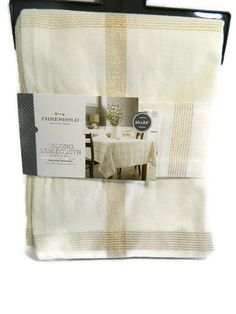 Threshold Tablecloth Round Cream Gold Plaid 70 in Christmas New  #Threshold