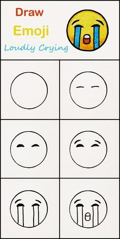 Learn how to draw The loudly crying Emoji step by . Learn how to draw The loudly crying Emoji step by step ♥ very simple tutorial Doodle Art For Beginners, Easy Drawings For Beginners, Easy Doodle Art, Easy Drawings For Kids, Drawing For Kids, Simple Drawings For Kids, Children Drawing, Baby Drawing, Drawing Drawing