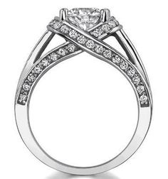 Engagement Ring - Criss-Cross Round Diamond Engagement Ring 0.68 tcw pave in 14K White Gold - ES888RWG