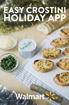 An easy appetizer for any New Years Eve party! Toasted Baguette slices spread with Boursin cheese, sprinkled with fresh shredded parmesan, and broiled in the oven until the cheeses bubble and brown. Garnished with fresh chopped parsley. Warm, crispy, cheesy, and easy, an appetizer that is sure to please!