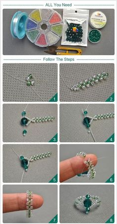 seed bead tutorials for beginners Diy Beaded Rings, Diy Jewelry Rings, Bead Jewellery, Jewelry Crafts, Diy Rings, Bead Earrings, Pearl Jewelry, Jewelry Making Tutorials, Beading Tutorials