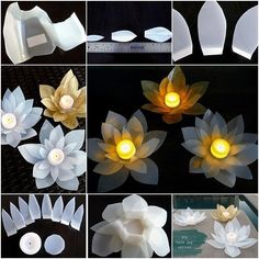 DIY Lotus candle holder .It would be so fab and peaceful to place them on dining table outside, or along the pathway or float on pond.…