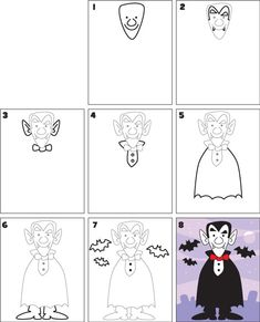 How To Draw Apprendre à dessiner un vampire / How to draw a vampire Halloween Doodle, Halloween Drawings, Drawing Lessons, Art Lessons, Drawing For Kids, Art For Kids, Vampire Drawings, Halloween Arts And Crafts, Directed Drawing