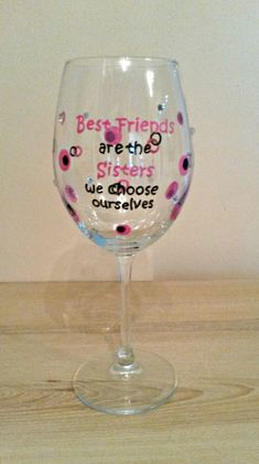 Best Friend wine glass by LinDreamGlass on Etsy