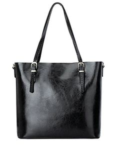 Cecilia Womens Handbag Genuine Leather Tote Shoulder Bags Black * More info could be found at the image url.