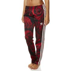 Adidas Originals Red Clash Womens Track Pant ($32) ❤ liked on Polyvore featuring activewear, activewear pants, pants, bottoms, adidas, sport, sweatpants, power red ruse red, sport sweat pants and track pants