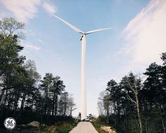 A wind turbine stands over 250 feet tall among the trees. Photo taken by Jared Chambers at the Cape Cod Instawalk.
