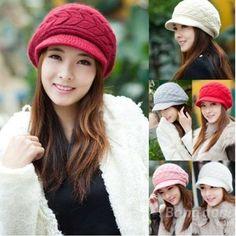 9471332cbcb  US 5.99  Women Girls Winter Knit Double Arrow Crochet Wool Cap Velvet Hat