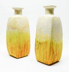Pair of Vintage Marcello Fantoni Italian Modernist Yellow Pottery Vases - Raymor