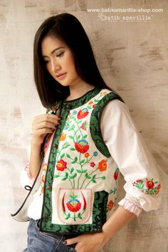 Batik Amarillis's folklore 2014 vol 2 splendid  wHite Linen  Hungarian embrodery jacket with Tenun batik gedog Tuban of Indonesia accented with unique wooden buttons ..enjoy our beautiful ethnic inspired collection and spectacular Hungarian folk art embroidery..