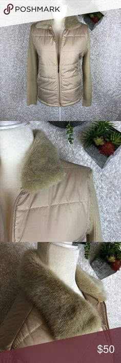 Coldwater Creek Puffer Jacket NWOT Coldwater Creek Puffer Jacket with ribbed sweater sleeves and a faux fur collars detail  Never worn - NWOT  Faux fur collar is removable for cleaning  This is a light tan/cream color - my lighting kit darkened it a bit (go figure😉) Coldwater Creek Jackets & Coats