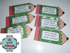 Write like a Star bookmark freebie:)