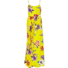 River Island Yellow floral print maxi dress (500 MAD) ❤ liked on Polyvore featuring dresses, sale, floral dress, spaghetti strap maxi dress, floral maxi dress, spaghetti strap summer dresses and tall dresses