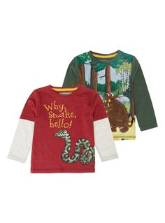 These fun and comfortable tees offer a great look from his favourite book. In red and green colours, these stylish tops have long contrast sleeves and round necklines, with one top sporting a Snake print and the other a detailed Gruffalo and Mouse scene print for two great separate styles.</p><p></p><ul><li>Boys Gruffalo t-shirts</li><li>Pack of 2</li><li>Long contrast sleeves</li><li>Round necklines</li><li>Gruffalo prints</li><li>Classic fit</li><li>Keep away from fire</li></ul>
