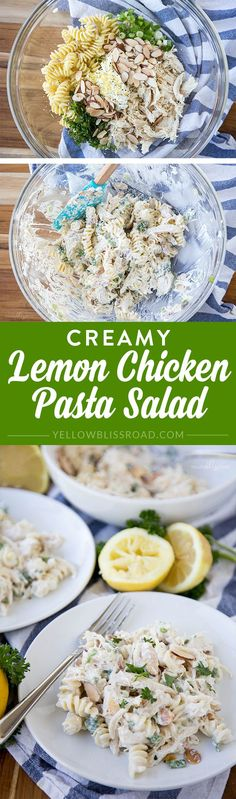 Creamy Lemon Chicken Pasta Salad - Chicken Salad with Pasta and a tangy, creamy lemon and Greek yogurt dressing.