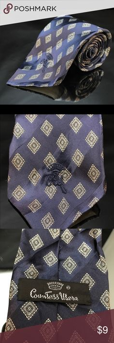 Countess Mara Men's Silk Tie Blue White Multi Countess Mara Men's Silk Tie Blue White Multi-color Square Satin Silk.       Has some pulled threads countess Accessories Ties