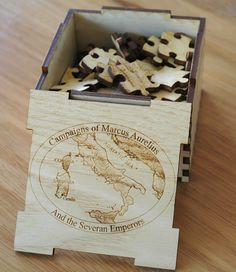 European Oak Box and jigsaw. laser engraved and cut. Part of jigsaw image engraved on box lid. MyChoice@Firebridge