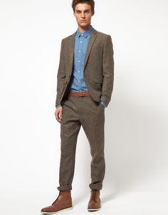 ASOS – Schmal geschnittene Anzugjacke aus Tweed