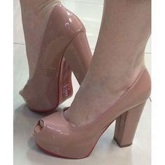 5aa40eee77 Peep Toe Pata Verniz Nude Rose Salto Grosso Plataforma 2061 - R  159