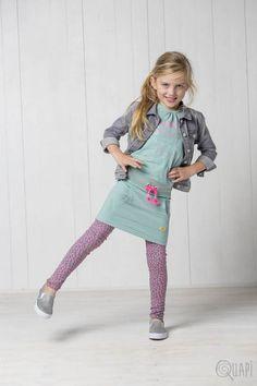 Quapi | Jeansjacket Falke Light Grey Denim | Dress Fannie Moss | Legging Florijn 2 Olive Leopard