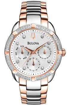 Elegant diamant ur i sølv/rosegold - Bulova Maribor Diamond