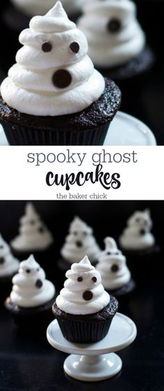 Spooky Ghost Cupcakes Halloween Food For Adults, Halloween Finger Foods, Easy Halloween Food, Halloween Baking, Halloween Desserts, Halloween Cupcakes, Fall Desserts, Holiday Baking, Halloween Treats