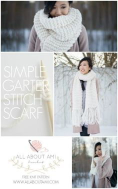 FREE beginner-friendly knit pattern to make this gorgeous oversized cowl!  Uses only the simple garter stitch!