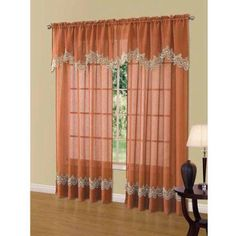 Cavalier Lace Scalloped Valance, Red