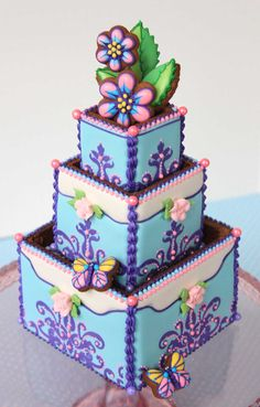An alternative to traditional wedding cake? 3-D cookie wedding cake box by Julia M. Usher.