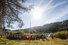 Festival wedding with a maypole ceremony site