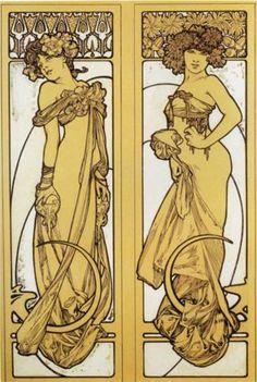 Two Standing Women - Alphonse Mucha,sketch and study,