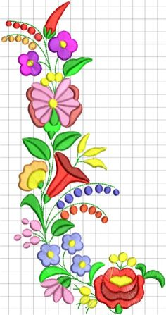 Kalocsai hímzésminta 352 Hungarian Embroidery, Felt Embroidery, Machine Embroidery Applique, Embroidery Stitches, Hand Embroidery Patterns Free, Fabric Paint Designs, Needlework, Couture, Hungary