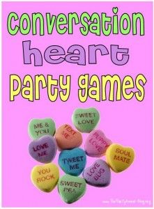 Lots of fun games to play with candy hearts!  (the bingo game would be a great color matching exercise!)