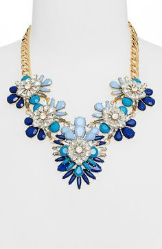 { Cara Stone & Crystal Bib Necklace }