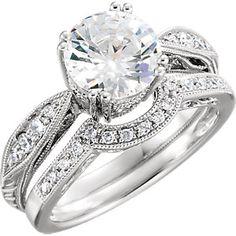 Item #: 651862:102:P  C 14kt White 1/8 CTW Diamond Semi-mount Engagement Ring for 6.5mm Round Center   StullerC
