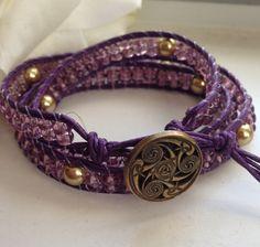 Handcrafted Triple Wrap Beaded Bracelet Lavender Purple Gold Pearls - Pin Me! #beachbracelet #bohobracelet #wrapbracelet by goldenhandscreations, $43.00