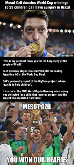 Germany, winners on and off the field. Mesut Ozil donated his World Cup winnings so that 23 children could have surgery World Cup 2014, Fifa World Cup, Germany Players, Brazil People, Germany Football, Arsenal Fc, Arsenal Players, Arsenal Football, Football Memes