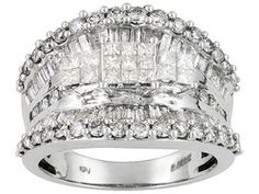 Diamond 2.00ctw Princess Cut With Round And Baguette 14k White Gold Ring Eav $2,250.00
