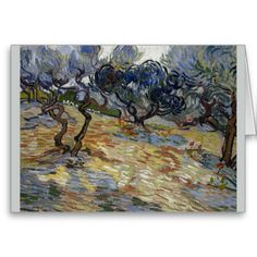 Olive Trees by Vincent Van Gogh Greeting Cards
